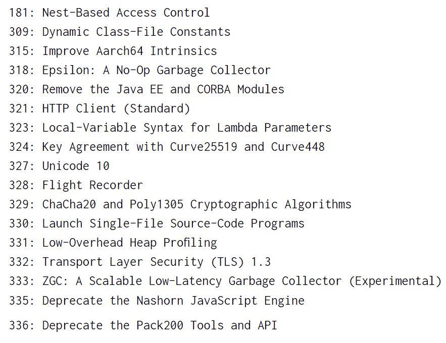 JDK 11 Feature-Liste mit JDK Enhancement Proposals (JEPs). (Abb. 3)