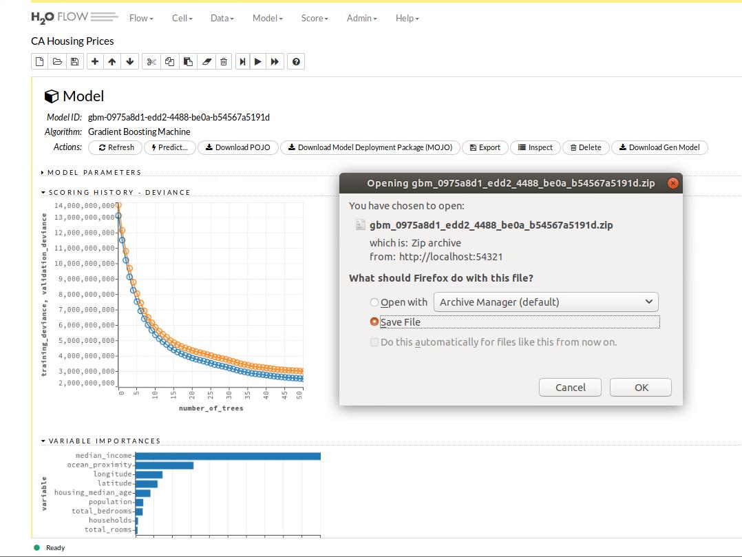 H2O-Flow-Benutzeroberfläche – Java-Code-Generierung und Download eines trainierten Models. (Abb. 12)