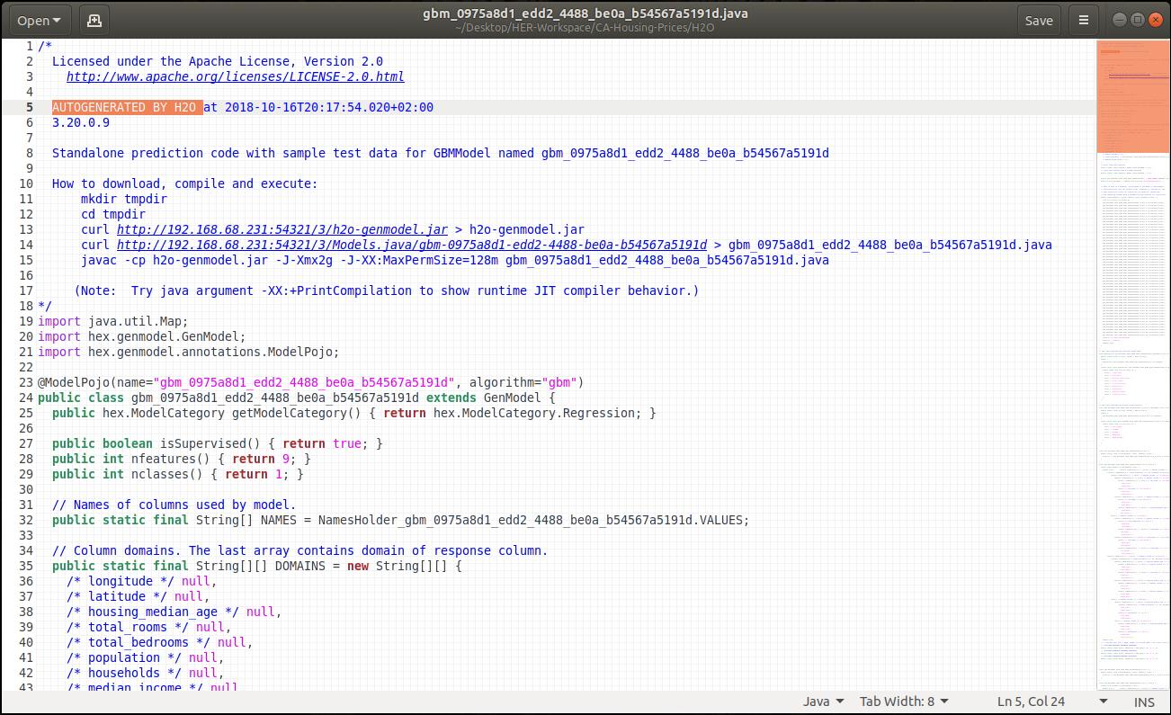 Generierter Java-Code eines Gradient-Boosted-Machine-Modells zur Vorhersage kalifornischer Hauspreise. (Abb. 13)